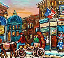 PAINTINGS OF CANADIAN WINTER CITY SCENES OLD MONTREAL BY CANADIAN ARTIST CAROLE SPANDAU by Carole  Spandau