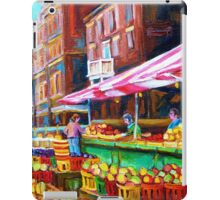 OUTDOOR MARKET DAY MONTREAL PAINTINGS OF CANADIAN CITIES BY CANADIAN ARTIST CAROLE SPANDAU iPad Case/Skin