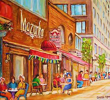 SIDEWALK RESTAURANTS MONTREAL CITY SCENES PAINTINGS CANADIAN ART by Carole  Spandau