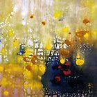 Abstract landscape painting in yellow, black and white  by Susan Wellington