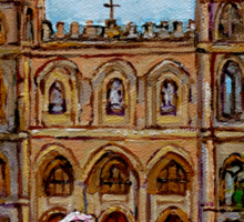 EGLISE NOTRE DAME CHURCH OLD MONTREAL ART CANADIAN PAINTING BY CAROLE SPANDAU CANADIAN ARTIST Sticker