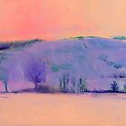 Pink and purple peace: hill landscape painting by Susan Wellington