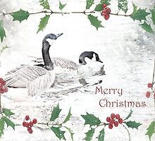 "Nostalgic Geese ""Merry Christmas"" ~ Greeting Card by Susan Werby"