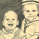 grandchildren TYLER AND AUSTIN portrait in pencil by francelle  huffman