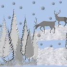 Snow scene with trees and deers by Ann12art