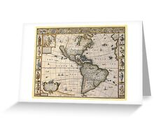 Americas Map 1626 Greeting Card