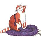 Ginger & White Cat sitting on a purple jumper and shirt. by David Roberts