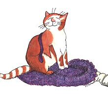 Ginger & White Cat sitting on a purple jumper and shirt. by davethewave
