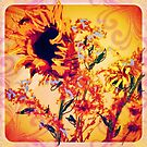 Sunflowers on a very windy day by Anna  Lewis