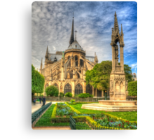 Notre Dame with Garden & Fountain Canvas Print