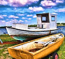 Fishing boat on the beach by Ron Zmiri