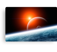 Planet Earth with Double Moon Canvas Print