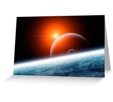 Planet Earth with Double Moon Greeting Card