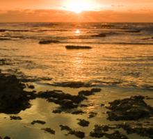 Beautiful seascape in dramatic sunset Sticker