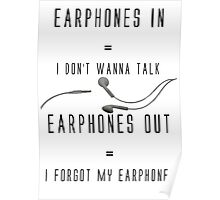 Earphones Music Funny Design Poster