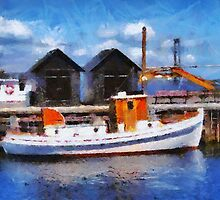 Fishing boats in a port by Ron Zmiri