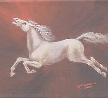 Airborne - White Horse Leaping Across Sky by Horseworks