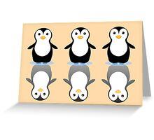 THREE PENGUINS ON ICE Greeting Card