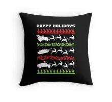 Funny Military Vehicles Being Pulled By Holiday Reindeer T-Shirt and Accessories Throw Pillow