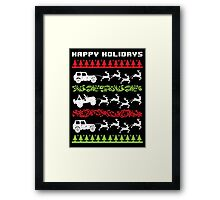 Cool 4 X 4 Happy Holidays Trucks Being Pulled by Reindeer Holiday T-Shirt Framed Print