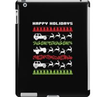 Cool 4 X 4 Happy Holidays Trucks Being Pulled by Reindeer Holiday T-Shirt iPad Case/Skin