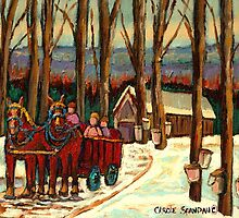 VERMONT SUGAR SHACK BEAUTIFUL WINTER LANDSCAPE  by Carole  Spandau
