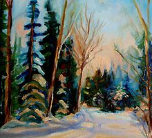 CANADIAN WINTER SCENE PAINTINGS WINTER ROAD BY CANADIAN ARTIST CAROLE SPANDAU by Carole  Spandau