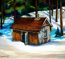 SUGAR SHACK IN THE WOODS SPRING IS NEAR CANADIAN PAINTINGS AND CANADIAN ART BY CANNADIAN ARTIST CAROLE SPANDAU by Carole  Spandau