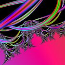 Cosmic Ribbons:  Magenta and Black Fractal Art by Terry Krysak