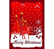 Merry Christmas text card with Xmas trees, snow and a cute decorated horse Photographic Print