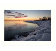 Small Cove Pink and Snowy Dawn Art Print