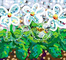 Flowers and honeybee by goanna