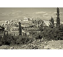 Athenian Acropolis from Philopappou Hill, 1960, Yellow-toned Photographic Print