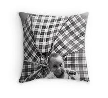 'Umbrella Girl, northern Rwanda.' www.cnecpi.com.au Throw Pillow