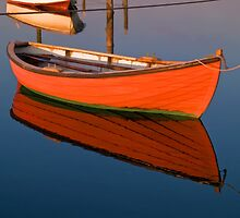 Small dinghy dory floating in the water by Ron Zmiri