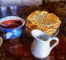 Classical breakfast outmeal waffer and jam  by Ron Zmiri