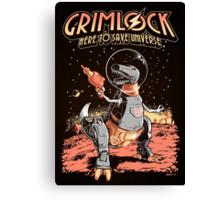 Space Pulp Robot Dinosaur Hero (Print Version) Canvas Print