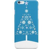 Christmas Tree Made Of Snowflakes On Cerulean Background iPhone Case/Skin