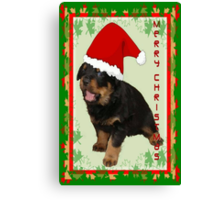 Cute Merry Christmas Puppy In Santa Hat Canvas Print
