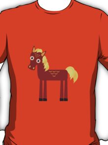 Brown horse on blue floral background T-Shirt