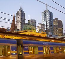 Melbourne Train at Dusk by Lisa Carse