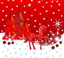 Cute Horse in a wonderful Winter World by walstraasart
