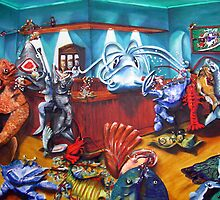 "A FEW FISHY ""TALES"" AT THE SAND BAR ""oil on canvas"" by Shauna  Noble"