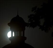 Full moon over St Charles Court house MO by WayneSheridan