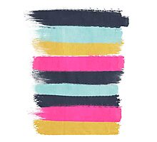Inez - horizontal brushstroke pattern in pink, navy, gold, and mint Photographic Print