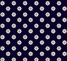 Dark blue and white Daisy by giraffoarts