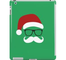 Funny Santa Claus with nerd glasses and mustache iPad Case/Skin