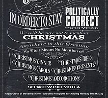 Sarcastic Politically Correct Black Chalkboard Christmas Card - We by 26-Characters