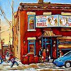 STREET HOCKEY GAME NEAR THE BAGEL SHOP FAIRMOUNT BAGEL MONTREAL WINTER STREET SCENE PAINTINGS by Carole  Spandau