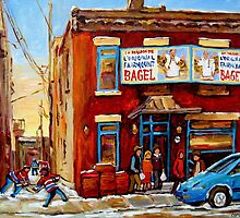 STREET HOCKEY GAME NEAR THE BAGEL SHOP FAIRMOUNT BAGEL MONTREAL WINTER STREET SCENE PAINTINGS by Carole  Spandau